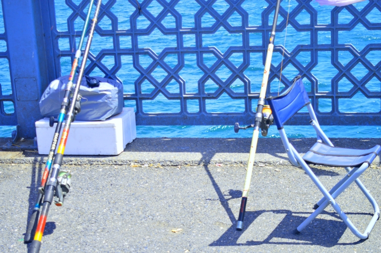 Fishing activities equipment at Galata Bridge Istanbul