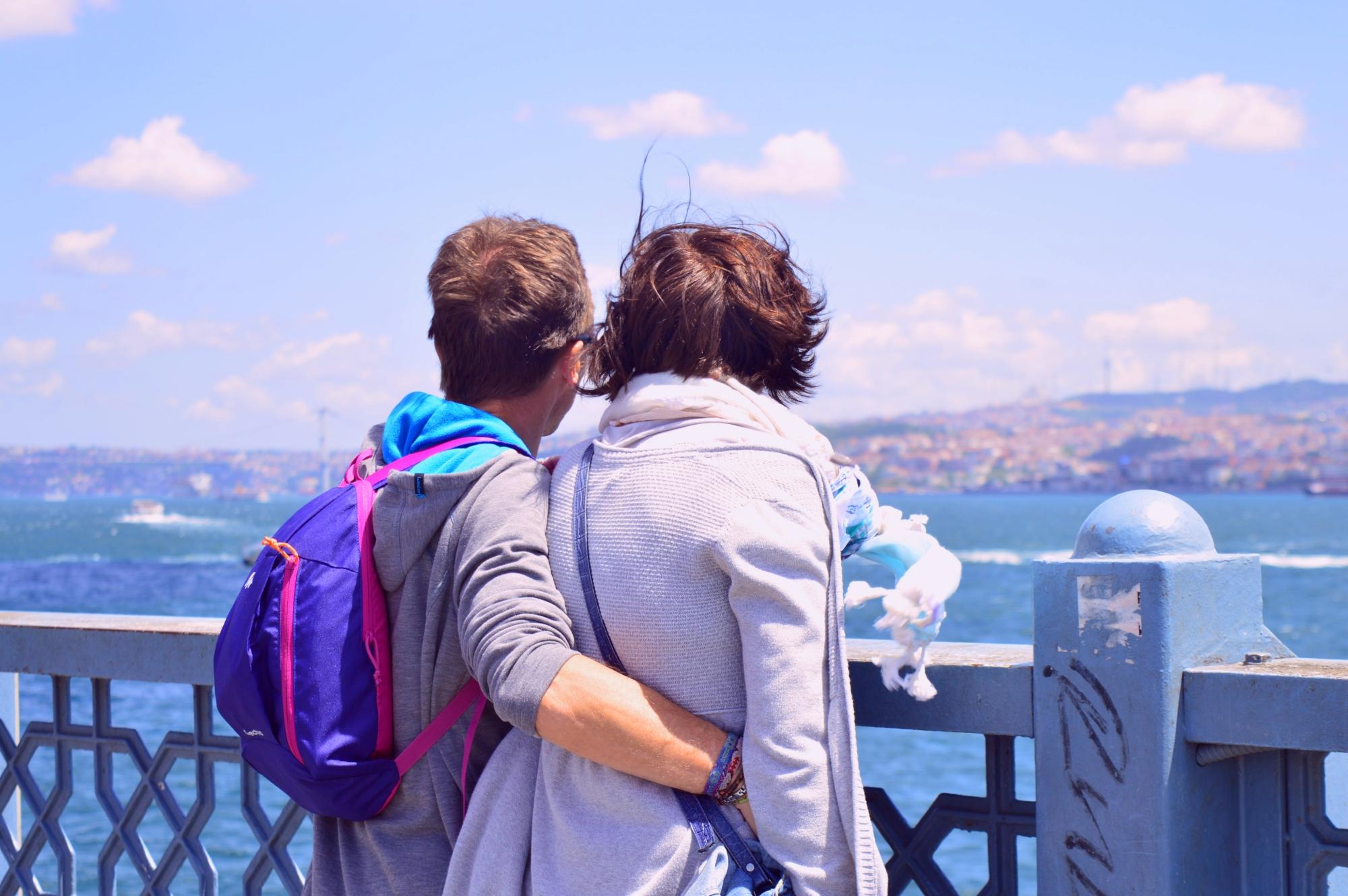 couple galata bridge marmara bosphorus boğaziçi cananche canan çetin travel photograhy together in love istanbul Istanbul Turkey türkiye